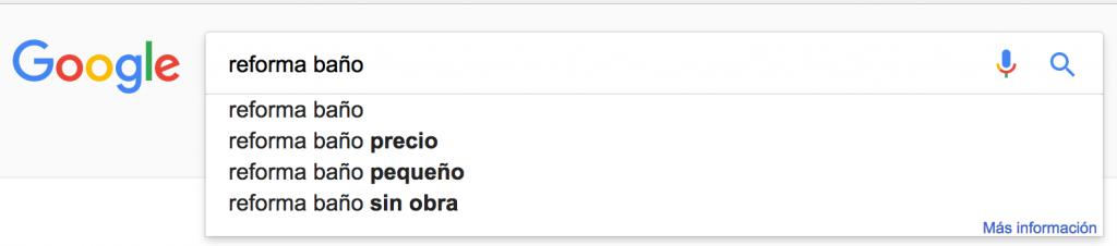 Búsquedas Google: Reformas Baño
